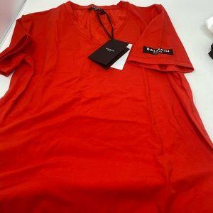 BALMAIN**Red V-Neck T-Shirt**Med. $425